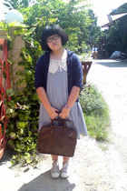 violet dress - beige shoes - navy jacket - brown bag