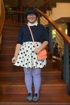 dark gray with polka dots cotton on skirt - dark gray with polka dots H&M shoes
