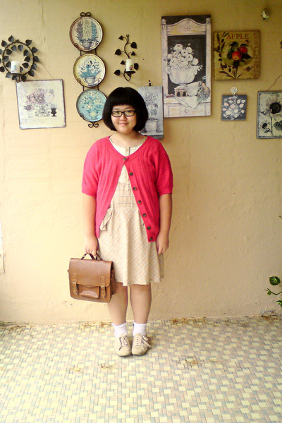 brown vintage bag - beige Topshop shoes - beige afternoon dress