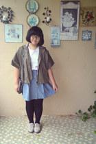 sky blue Forever 21 skirt - dark khaki jacket