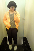 white unknown brand shoes - navy Debenhams jeans - orange Forever 21 jacket - he