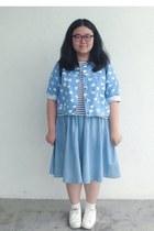 sky blue jacket - white shoes - sky blue skirt