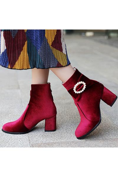 e57458e8227c8 Plain Chunky High Heeled Velvet Round Toe Date Outdoor Short High Heels  Boots. Updated on Nov 13, 2018. Berrylook boots