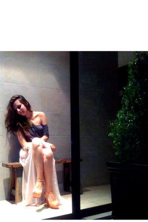 light pink Zara skirt - charcoal gray Zara shirt - nude Zara sandals