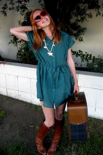 fairfax flea market glasses - dress - Goodwill boots - fairfax flea market purse