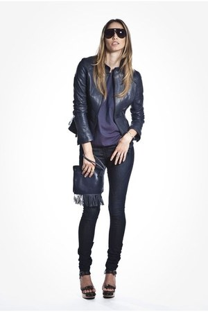 navy leather jacket Beryll jacket - violet stella top Beryll shirt