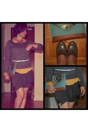 bcbg maxazaria skirt - franco sarto boots - Danielle Nicole bag