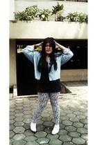blue Levis Vintage Collection jacket - black Mooks t-shirt - white shoes - glass