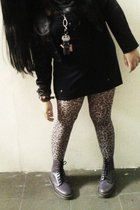 black from japan jacket - black vintage top - brown moonbeam tights - purple Dr