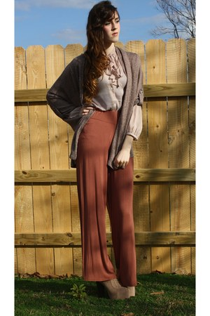 Missguided pants - GoJane boots - Ross cardigan - Ann Taylor Loft blouse