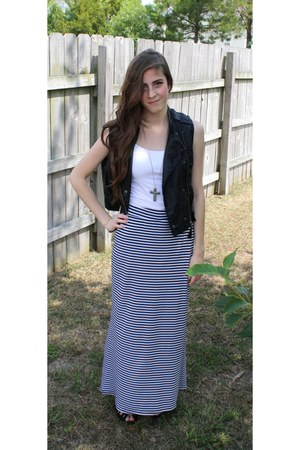 long Charlotte Russe skirt - leather thrifted vest - Forever 21 necklace - leath
