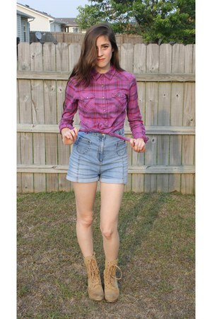 military delias boots - high-waisted H&M shorts - button up top