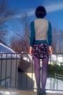 Green-walmart-top-gray-vintage-vest-black-forever21-skirt-gray-forever21-s