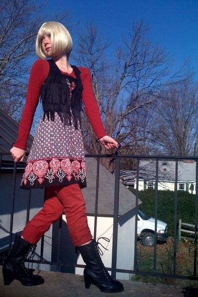 red H&M sweater - black Forever21 top - black Walmart vest - red Mango jeans - b