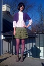 White-forever21-blouse-purple-old-navy-cardigan-green-forever21-skirt-purp