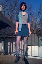 gray vintage vest - blue H&M dress - blue Forever21 tights - gray GoJane boots -