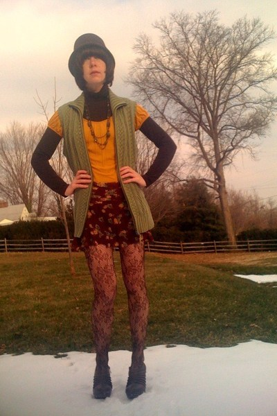 brown Target top - gold H&M shirt - green vintage vest - red vintage skirt - bro