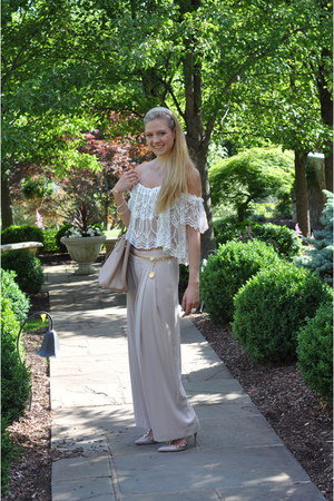 white lace Swell top - pink Prada bag - nude haute hippie pants