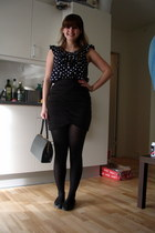 black 2nd Hand bag - black Topshophop flats - black h&m divided skirt - blue H&M