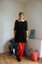 black asos dress - black Bianco shoes - red H&M tights