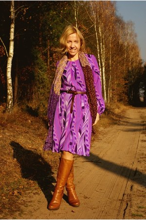 light purple self-made dress - tawny boots - purple H&M scarf
