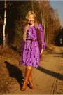 Tawny-boots-light-purple-self-made-dress-purple-h-m-scarf