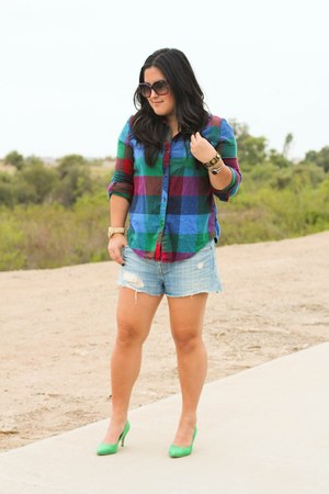 turquoise blue H&M heels - plaid Urban Outfitters shirt - denim Levis shorts