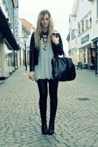 jacket - dress - leggings - boots - purse - necklace