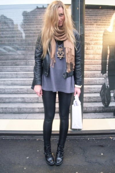 black boots - black jacket - gray sweater - beige scarf