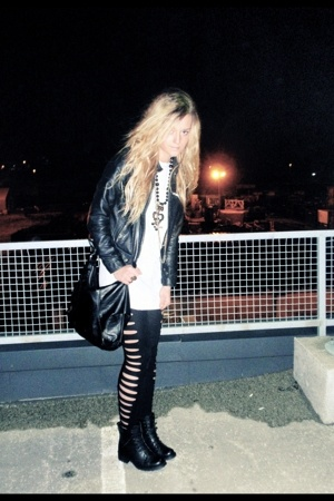gold necklace - black boots - black leather jacket - black diy leggings