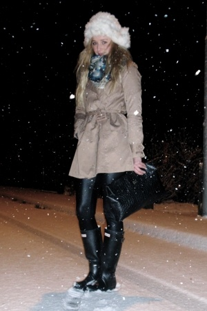 boots - coat - pants - scarf - hat - purse