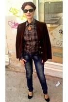 vintage blazer - skinny jeans marlen fashion jeans - plaid te quero shirt