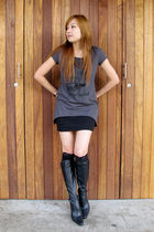 gray Forever 21 top - black H&M skirt - black Momoe from Malaysia stockings - Ch