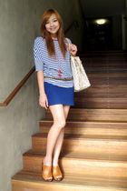 blue Uniqlo shirt - blue Forever 21 skirt - brown Forever 21 belt - brown Mango