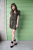green Forever 21 dress - black H&M shorts - black Forever 21 shoes