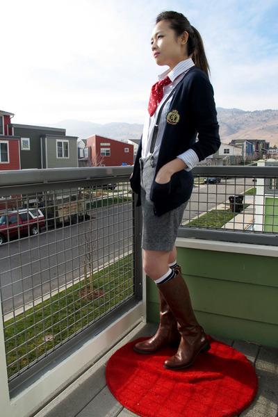 dark brown etienne aigner boots - navy Forever 21 socks