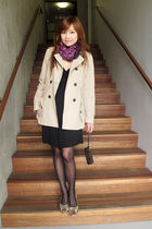 beige banana republic coat - black Forever 21 dress - black Forever 21 tights -