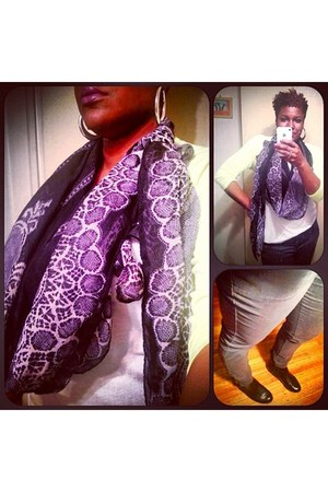 black rainbow scarf - black booties Mossimo shoes - charcoal gray Old Navy pants