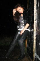 black Zara boots - black Topshop pants - black H&M jacket - white Zara vest - si