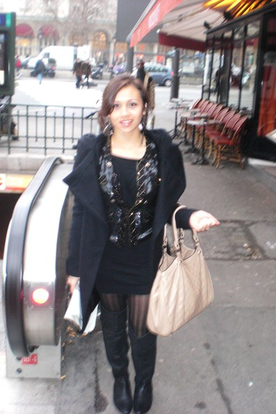 black Zara coat - black Zara boots - black FCUK dress - black Topshop blazer
