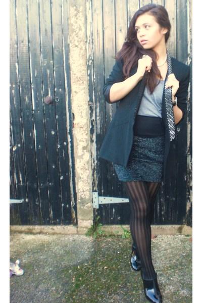 black Zara blazer - black Zara skirt - black next tights - black Zara shoes - gr