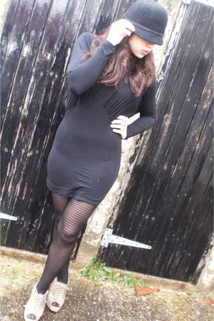 black dress - black tights - beige shoes - black hat - gold accessories