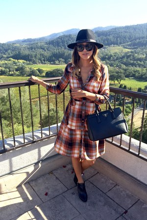 plaid Vila dress - ankle boots BCBG boots - fedora Forever 21 hat