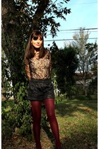 lace Forever 21 shirt - brocade Urban Outfitters shorts - gold sam edelman heels