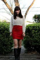 boots boots - bodycon Forever 21 dress - fuzzy Crop Sweater sweater