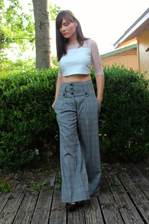 crop Topshop top - plaid Elizabeth and James pants