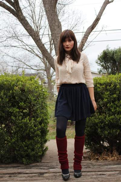 navy chiffon American Apparel skirt - ivory Urban Outfitters shirt