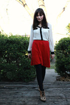 red wool Urban Outfitters skirt - white tuxedo Nasty Gal shirt
