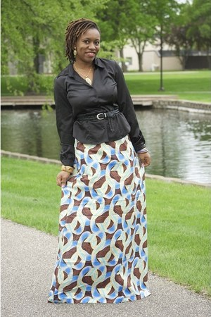 maxi Ankara print skirt - shirt - woven belt