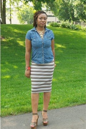 pencil skirt Knit Skirt skirt - faded glory top - blue GoMax sandals